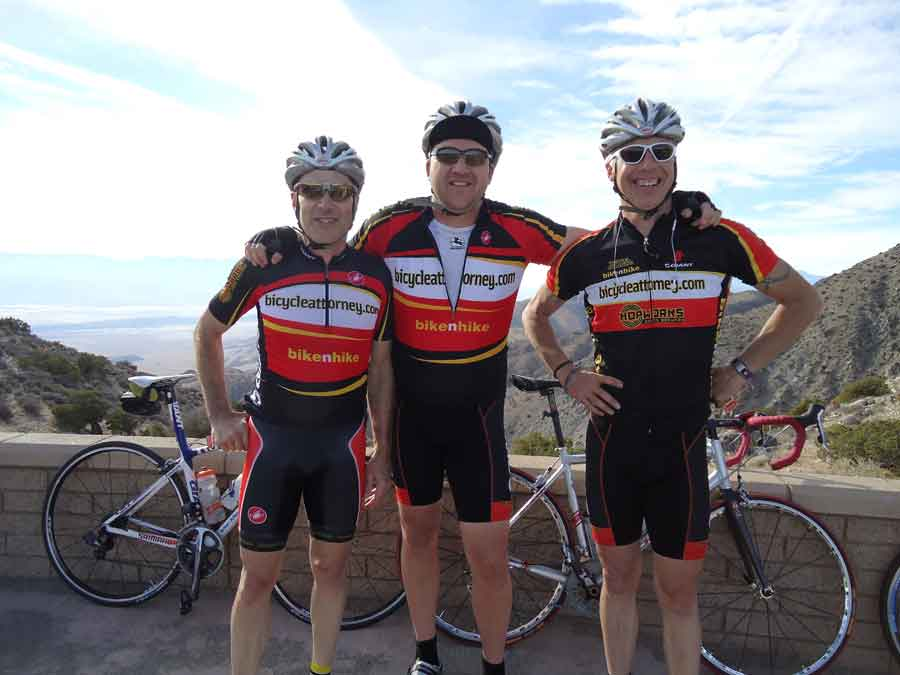 Portland bicycle racing team  bicycleattorney.com - Kevin Chudy owner of Bike N Hike, Danny Knudsen and Mike Colbach tres amigos at Joshua Tree Winter Training