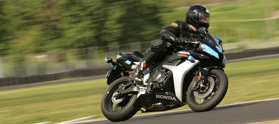 Michael Colbach on his Honda CBR 600 at Portland International Racewayy PSSR motorcycle safety training class.