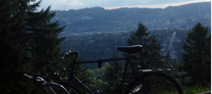 Mt. Tabor park looking out over Portland and down Hawthorne Blvd. to downtown.